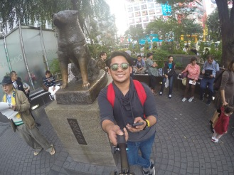 Hachiko Statue. This is the actual sport where Hachi was seen sitting, waiting for his master
